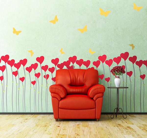 field of hearts wall sticker