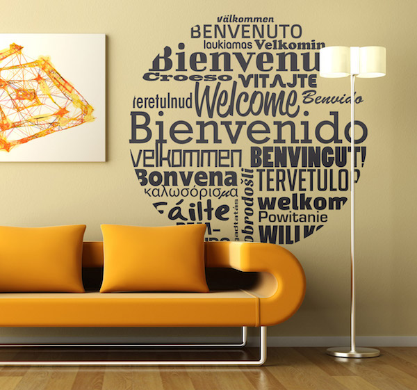 world welcome greetings wall sticker