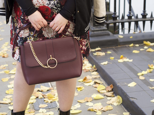 burgundy chain satchel bag patent ankle boots