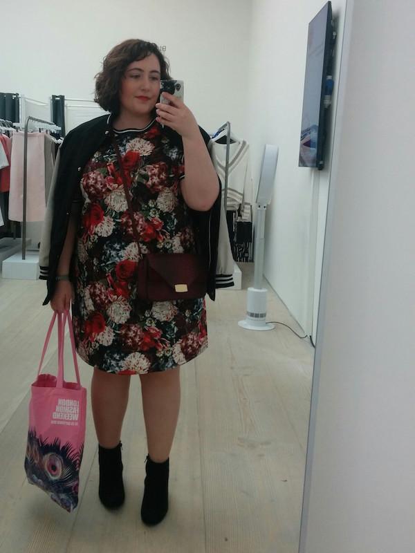 london fashion weekend winter florals dress