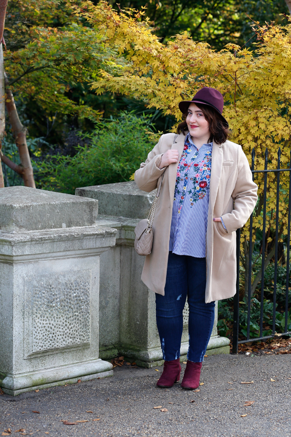 camel coat outfit blogger