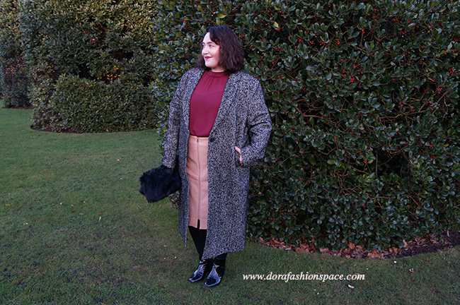 plus size oversized tweed coat