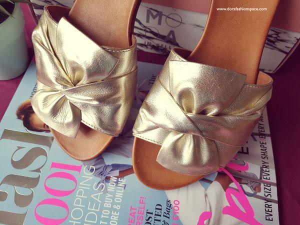 gold slider mule sandals