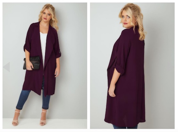 Dark-Purple-Lightweight-Duster-Jacket-With-Waterfall-Front