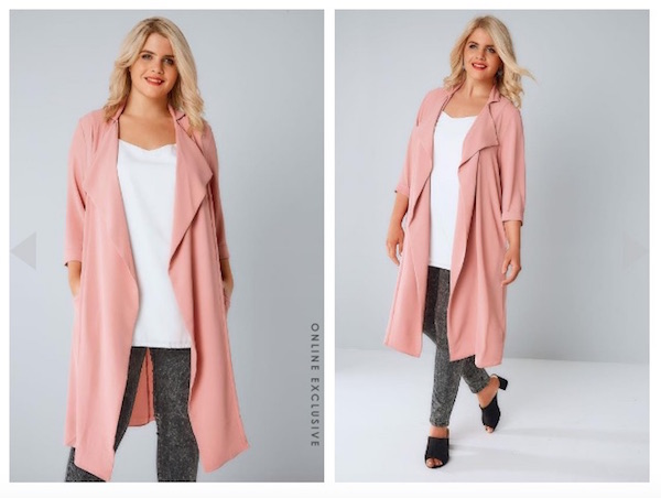 Dusky Pink Panelled-Duster-Jacket-With-Waterfall-Front