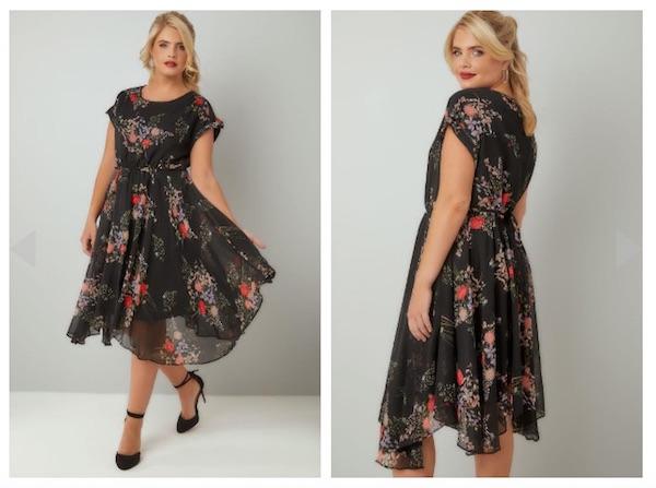 Vintage-Floral-Print-Chiffon-Dress