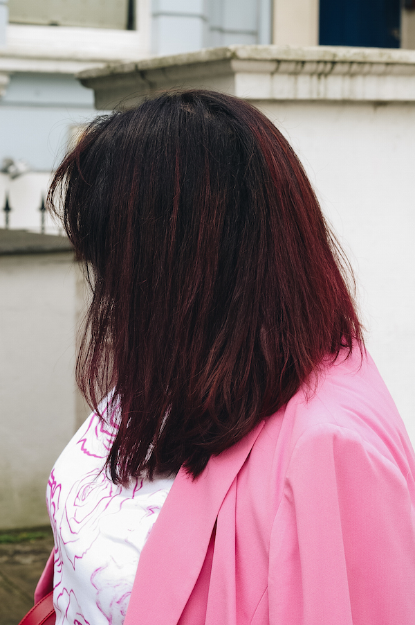 burgundy hair pink and red outfit