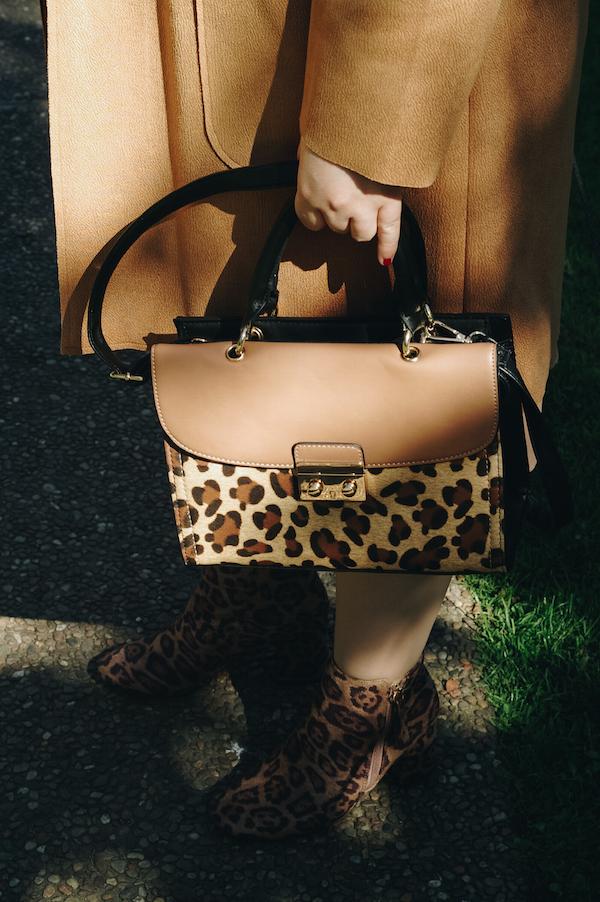 leopard print bag with camel coat