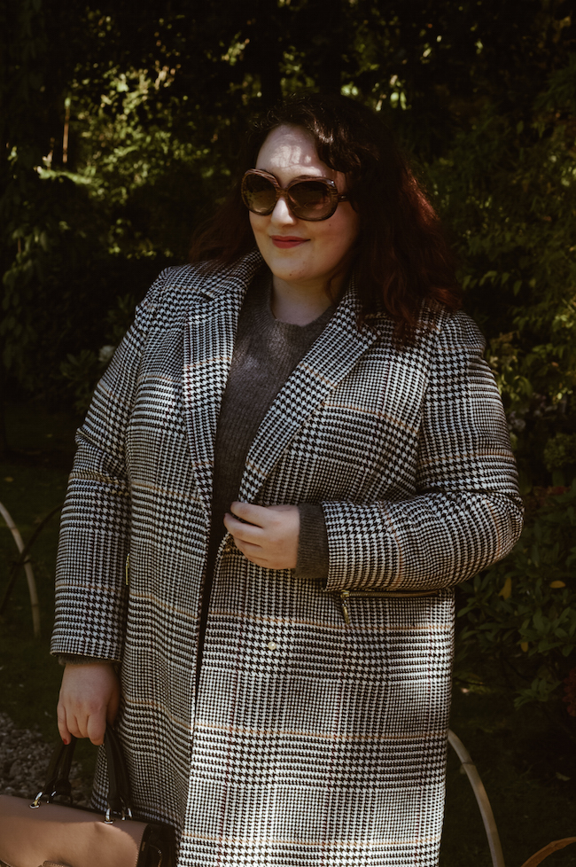 marks and spencer checked coat outfit