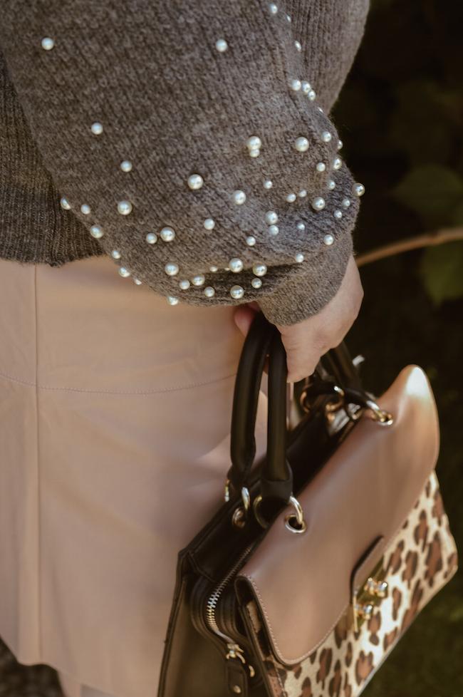 pearl embellished jumper outfit details