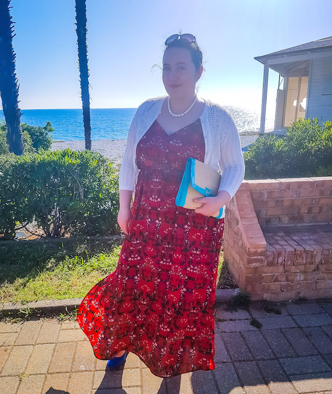how I styled red floral maxi dress