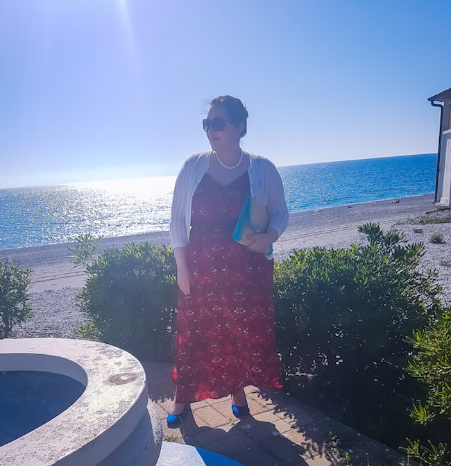 red floral maxi dress plus size