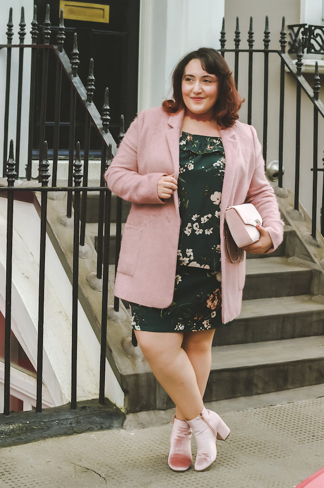 pink coat plus size blogger outfit