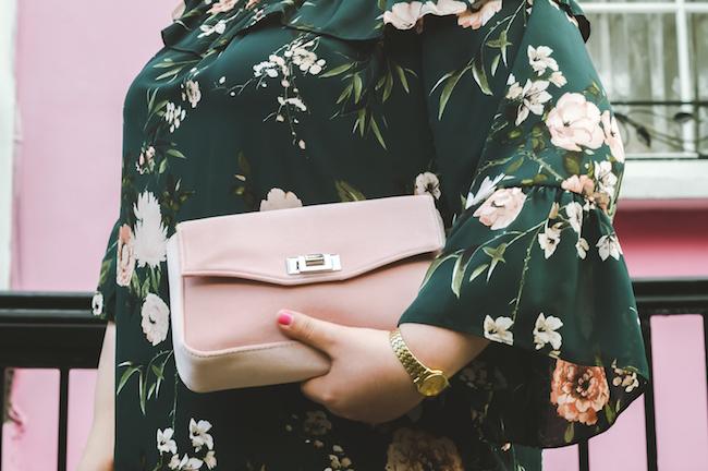 velvet pink bag outfit